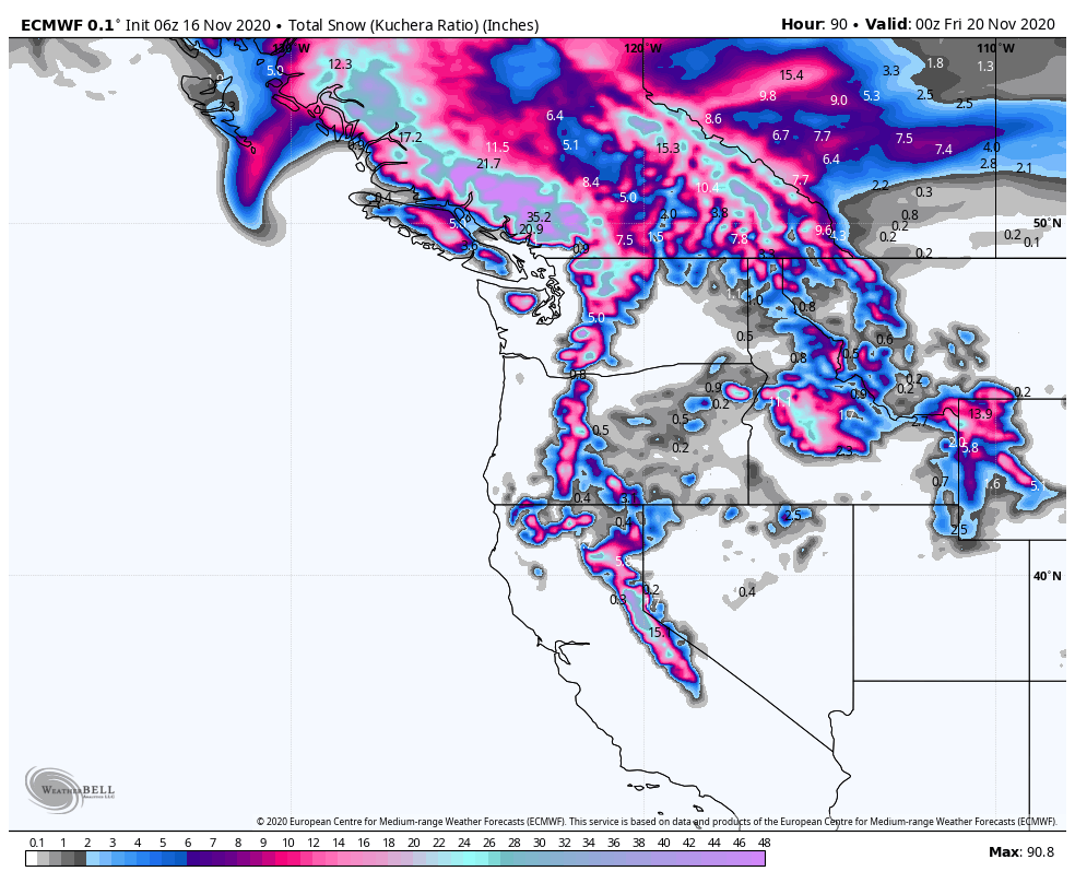 Map of the western US showing areas of blue and purple in the mountains for snow