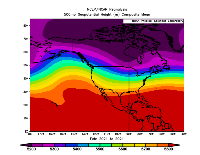 Rainbow colored contours have an upward pointing ridge over the Pacific ocean and a trough over Canada.